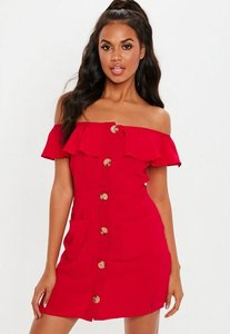 Read more about Red bardot frill button front a line dress red