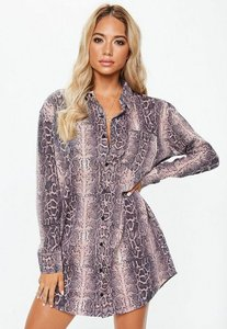 Read more about Pink snake print oversized jersey shirt dress pink