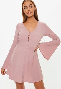 Read more about Blush flare sleeve horn button skater dress blush