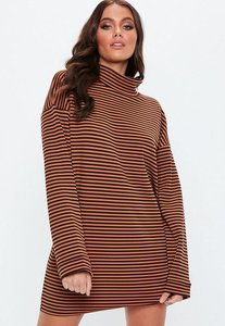 Read more about Rust high neck striped shift dress rust