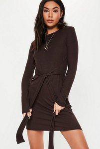 Read more about Chocolate tie waist long sleeve tshirt dress chocolate