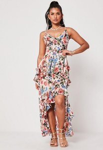 Read more about Pink floral ruffle hem maxi dress pink