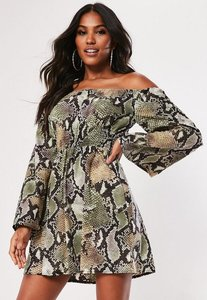Read more about Brown snake print bardot flare sleeve satin dress brown