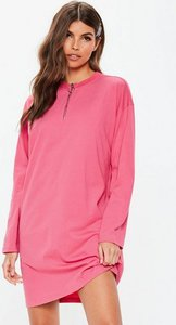 Read more about Pink long sleeve ring zip oversized t shirt dress pink