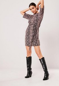 Read more about Pink snake print tie waist t shirt dress pink