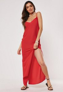 Read more about Red strappy side split maxi dress red