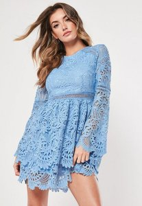 Read more about Blue lace frill double layer skater dress powder blue