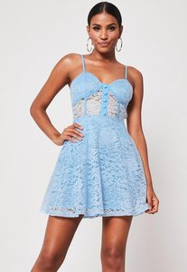 Read more about Blue strappy lace skater dress powder blue