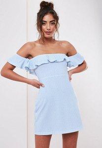 Read more about Blue bardot stripe print frill skater dress baby blue