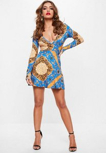 Read more about Blue chain animal print long sleeve wrap skater dress blue