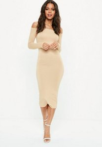 Read more about Nude long sleeve bardot bodycon midi dress beige