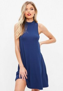 Read more about Blue racer neck sleeveless swing dress blue