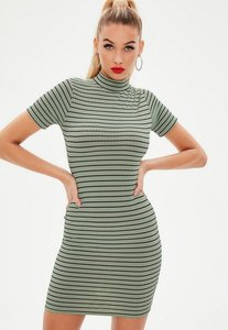 Read more about Green ribbed high neck stripe bodycon mini dress green