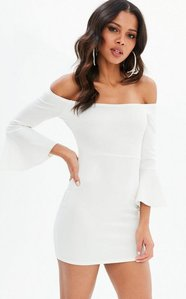Read more about Cream scuba metallic bardot frill sleeve bodycon dress white