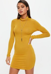 Read more about Mustard long sleeve curve hem roll neck bodycon dress yellow