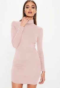 Read more about Pink long sleeve curve hem roll neck bodycon dress pink