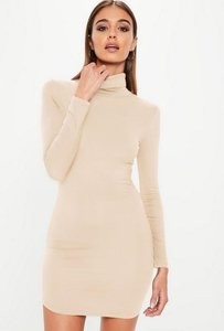 Read more about Nude long sleeves curve hem bodycon dress beige