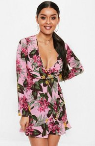 Read more about Pink wrap front ruffle mini dress pink