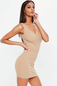Read more about Nabilla x missguided nude ribbed sleeveless bodycon dress brown