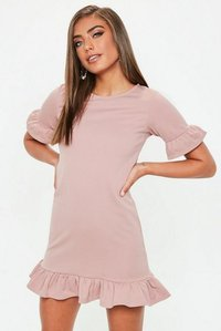 Read more about Rose frill detail mini dress pink