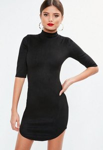 Read more about Black high neck bonded suede mini dress black