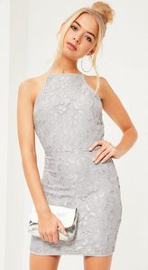 Read more about Lace square neck bodycon dress grey grey