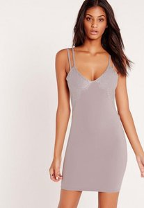 Read more about Double strap lace insert bodycon dress grey grey