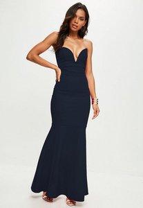 Read more about Scuba bandeau fishtail maxi dress navy blue