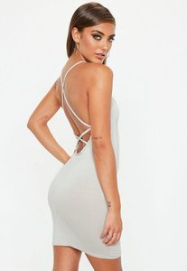 Read more about Strappy cross back bodycon dress grey grey
