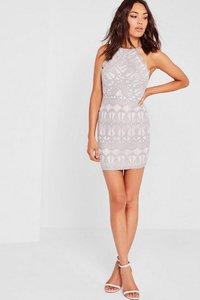 Read more about Lace strappy bodycon dress grey grey