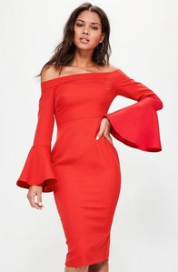 Read more about Red bardot frill sleeve tailored midi dress red
