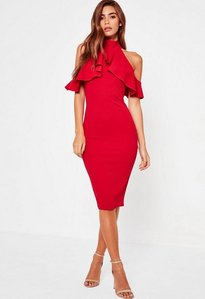 Read more about Red frill cold shoulder bodycon midi dress red