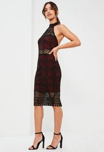 Read more about Burgundy lace high neck midi dress red