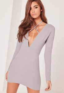 Read more about Grey tie neck plunge long sleeve bodycon dress grey