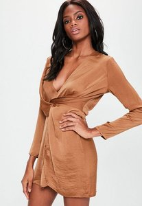 Read more about Copper silky plunge wrap shift dress brown