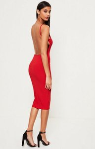 Read more about Red square neck ribbed open back midi dress red