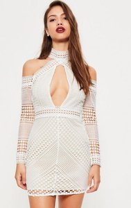 Read more about White lace cold shoulder bodycon dress white