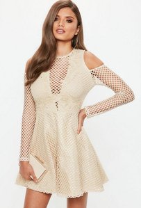 Read more about Nude lace cold shoulder embroidered skater dress beige