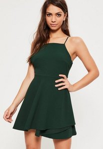 Read more about Green square neck open back skater dress green