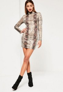 Read more about Nude snake sequin bodycon dress animal print