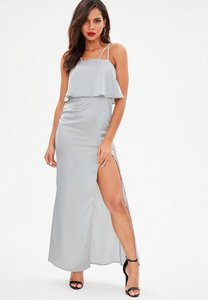 Read more about Silver silky double layer maxi dress grey