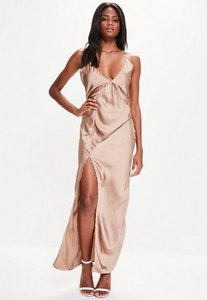 Read more about Gold silky plunge maxi dress gold