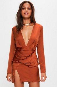 Read more about Orange silky long sleeve panelled dress orange