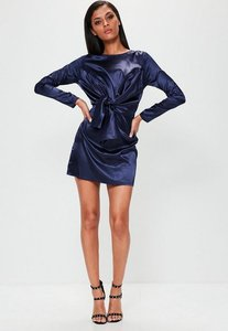 Read more about Purple silky tie front long sleeve shift dress blue