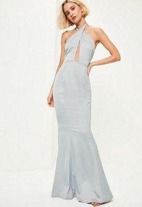 Read more about Blue plunge halterneck fishtail maxi dress blue