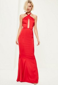 Read more about Red plunge halterneck fishtail maxi dress red