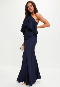 Read more about Navy crepe frill maxi dress blue