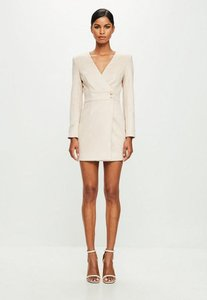 Read more about Nude long sleeve faux suede wrap dress beige