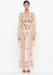 Read more about Nude kimono sleeve embellished maxi dress brown