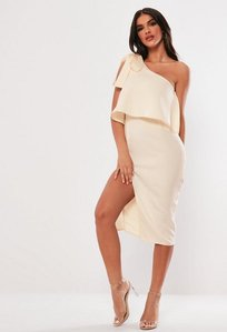 Read more about Nude one shoulder bow sleeve midi dress pink